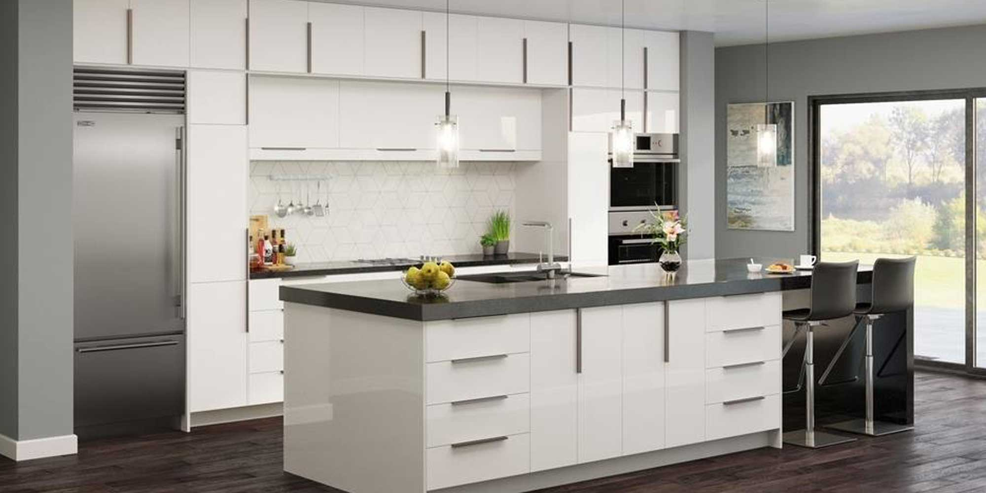 white cabinets with grey marble countertops and walls with black stools and dark brown wooden floor
