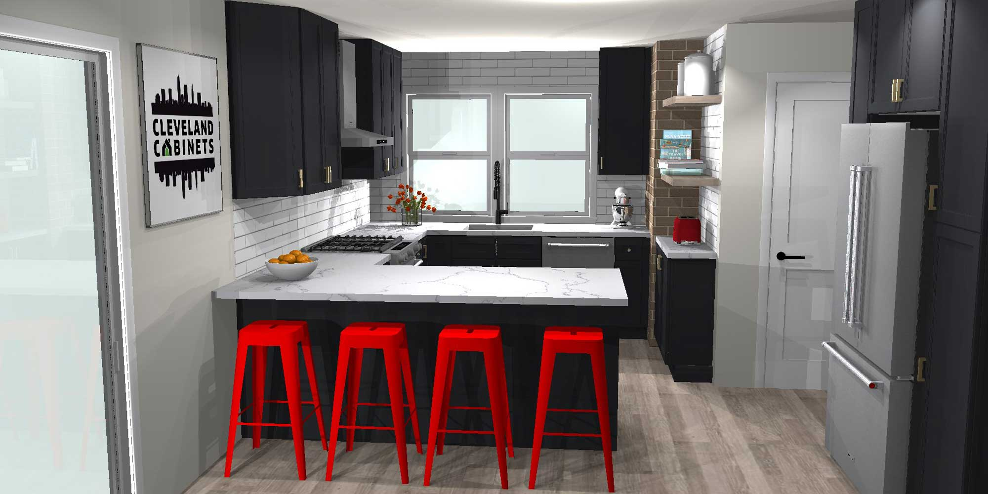 black cabinets, white marble top, red stool and grey fridge small kitchen