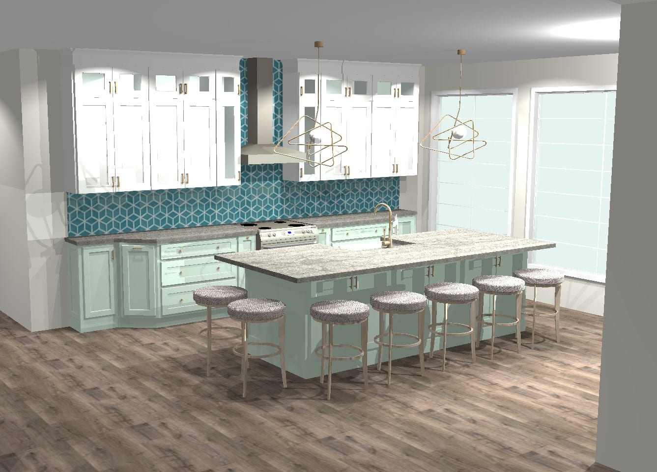 white, blue, green kitchen with wooden floor, white cabinets, and gold hanging