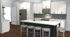 Gray stone stools under white and black island, dark wooden floor, white cabinets, black octogonal tile on wall with gray paint