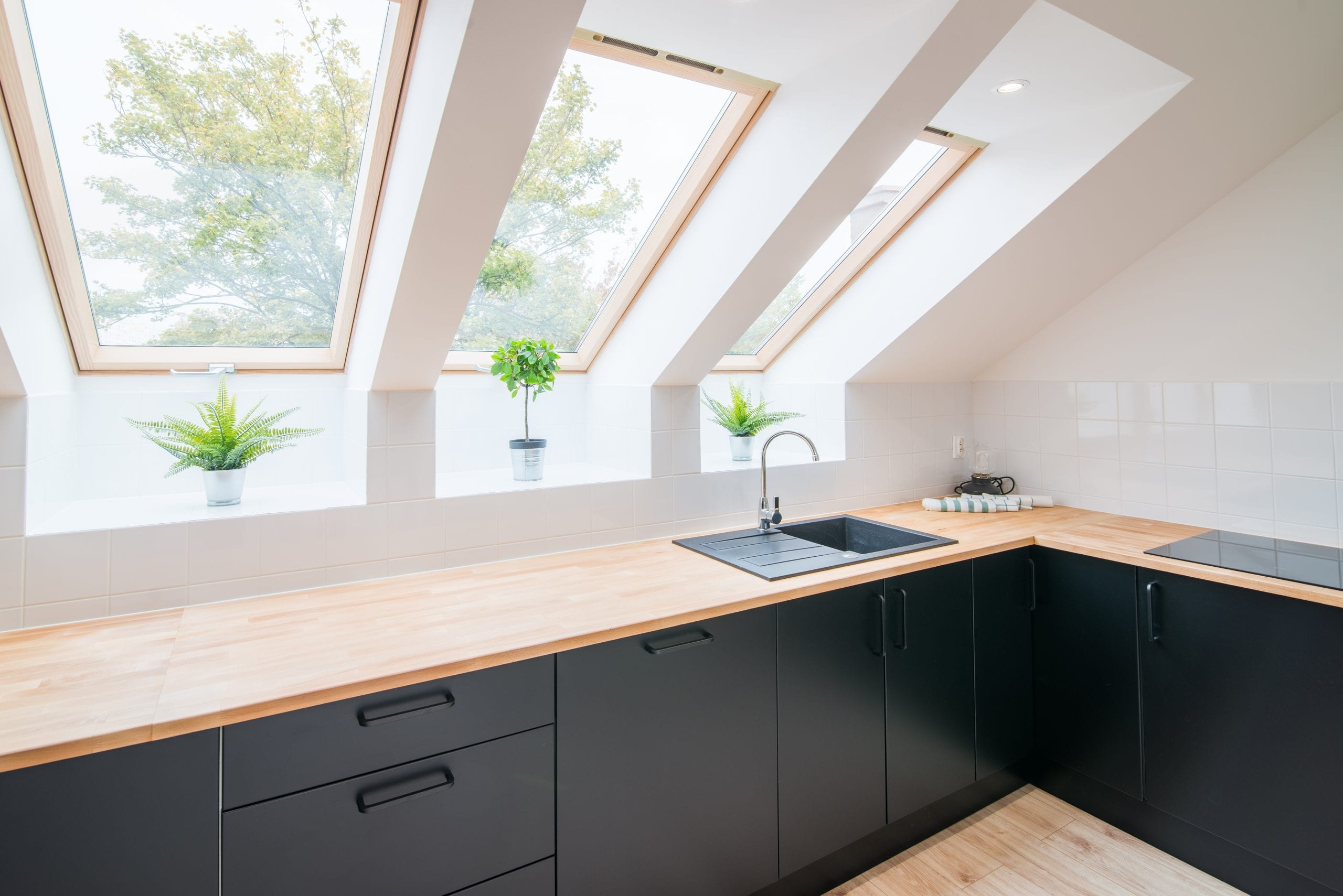 Bright kitchen with slanted ceiling