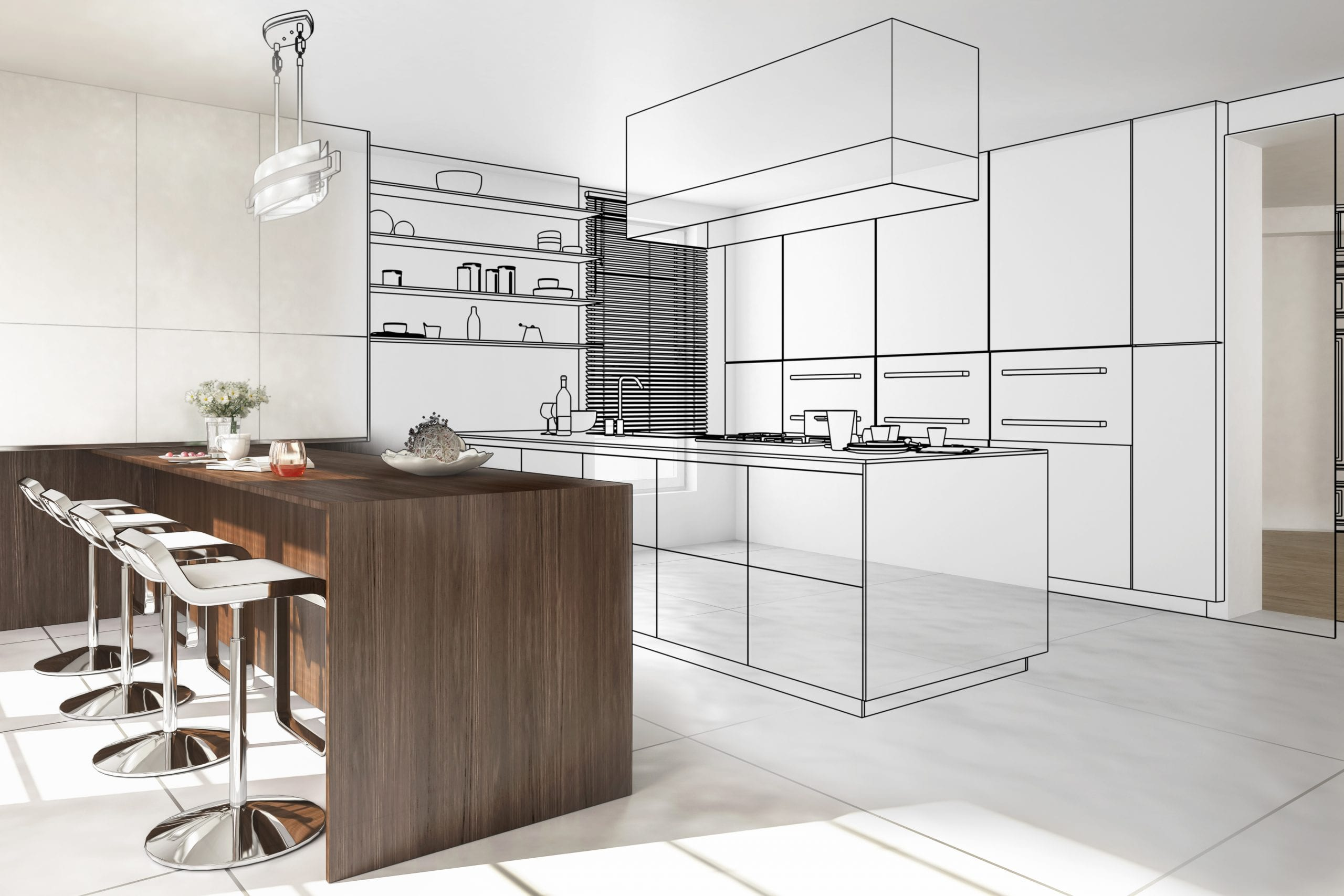 Kitchen design plans being drawn in 3D