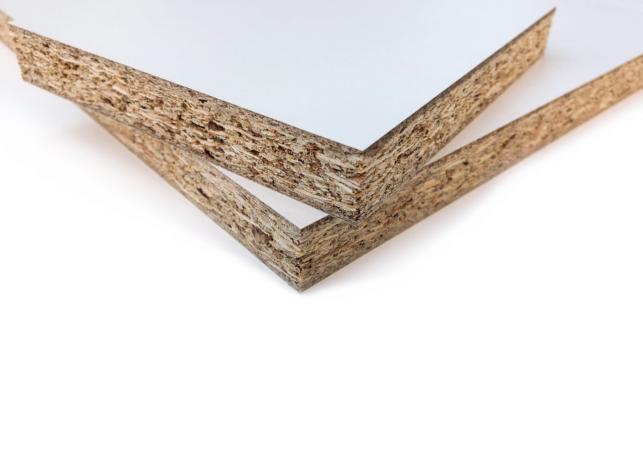 Two squares of MDF wood on top of each other on white background.