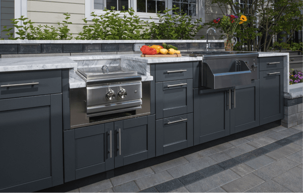 Outdoor kitchen area designs and dining table spacing units