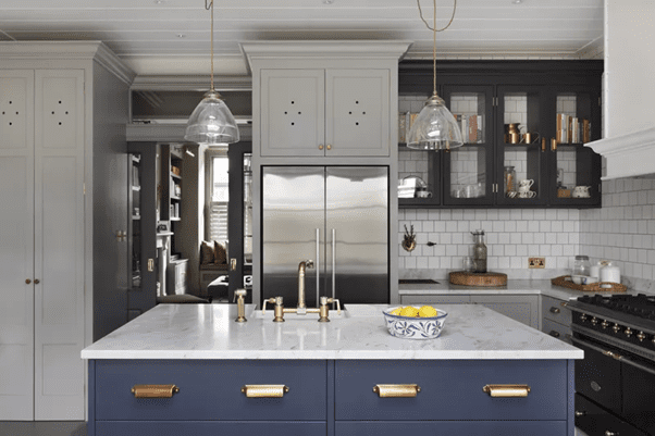 Blue Paint and White Kitchen
