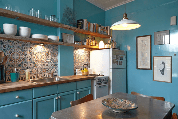 Deep Blue Painted Kitchen