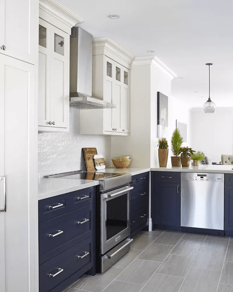 Lower dark blue cabinets with white painted wall