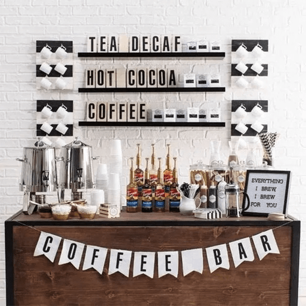 Fully stocked home coffee bar