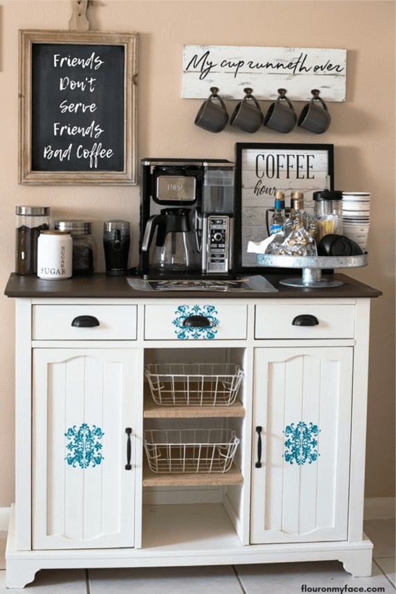 Casual kitchen coffee station with amazing coffee machines