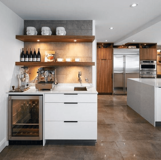 Creative home coffee stations in cooking area