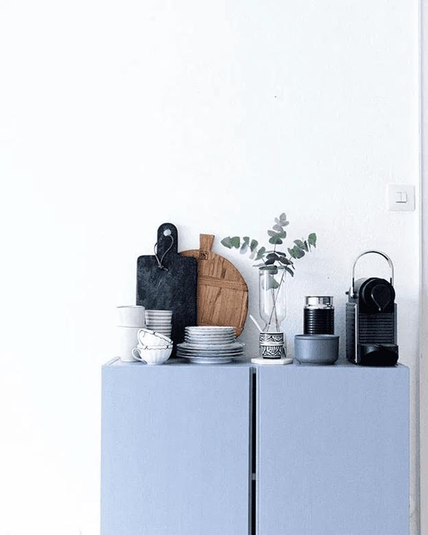 Minimalist home coffee bar with coffee machine and coffee essentials