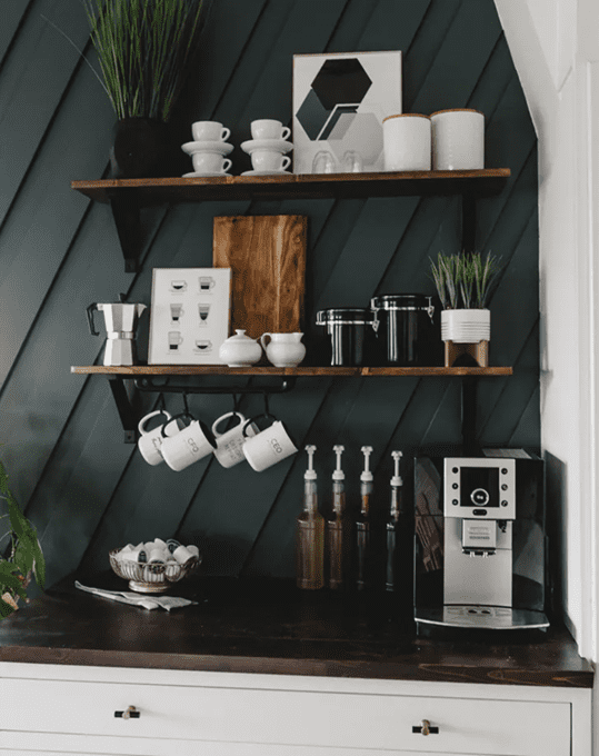 Home coffee station ideas and storage solutions