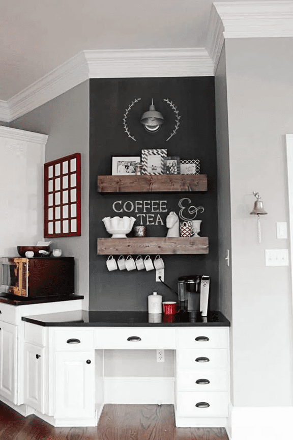 kitchen coffee station and wall decor