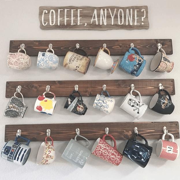 Coffee mugs in a mug rack