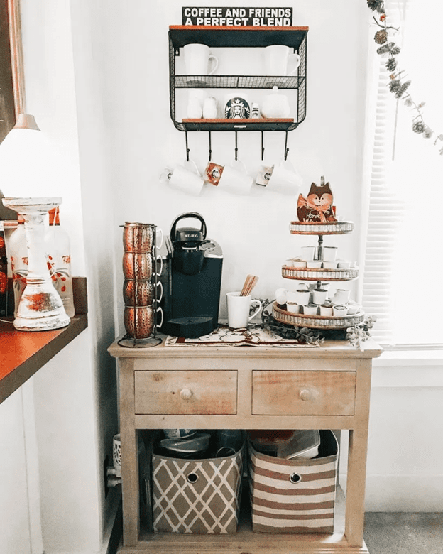 Coffee and tea station with bags
