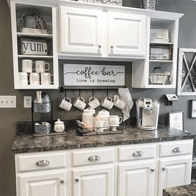 Luxury home coffee station cabinet