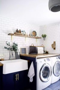 Beautiful laundry, counter space after remodeling and cleaning floor space