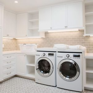 White walls, washer dryer, in your laundry room gives a classic touch