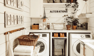 Laundry room ideas: Hang up baskets and place washer dryer in an organized way