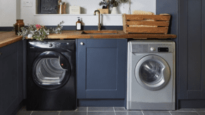 Laundry room ideas: designer make blue cabinets and white laundry room walls