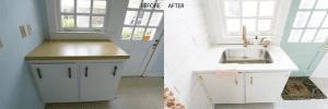 Interior designer designed the storage space of the laundry room