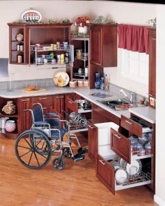 We provide customer service for an accessible kitchen to create wheelchair access and oven doors