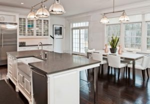 Steel Gray Granite Countertops or granite slab is an excellent choice with beautiful cabinets and walls