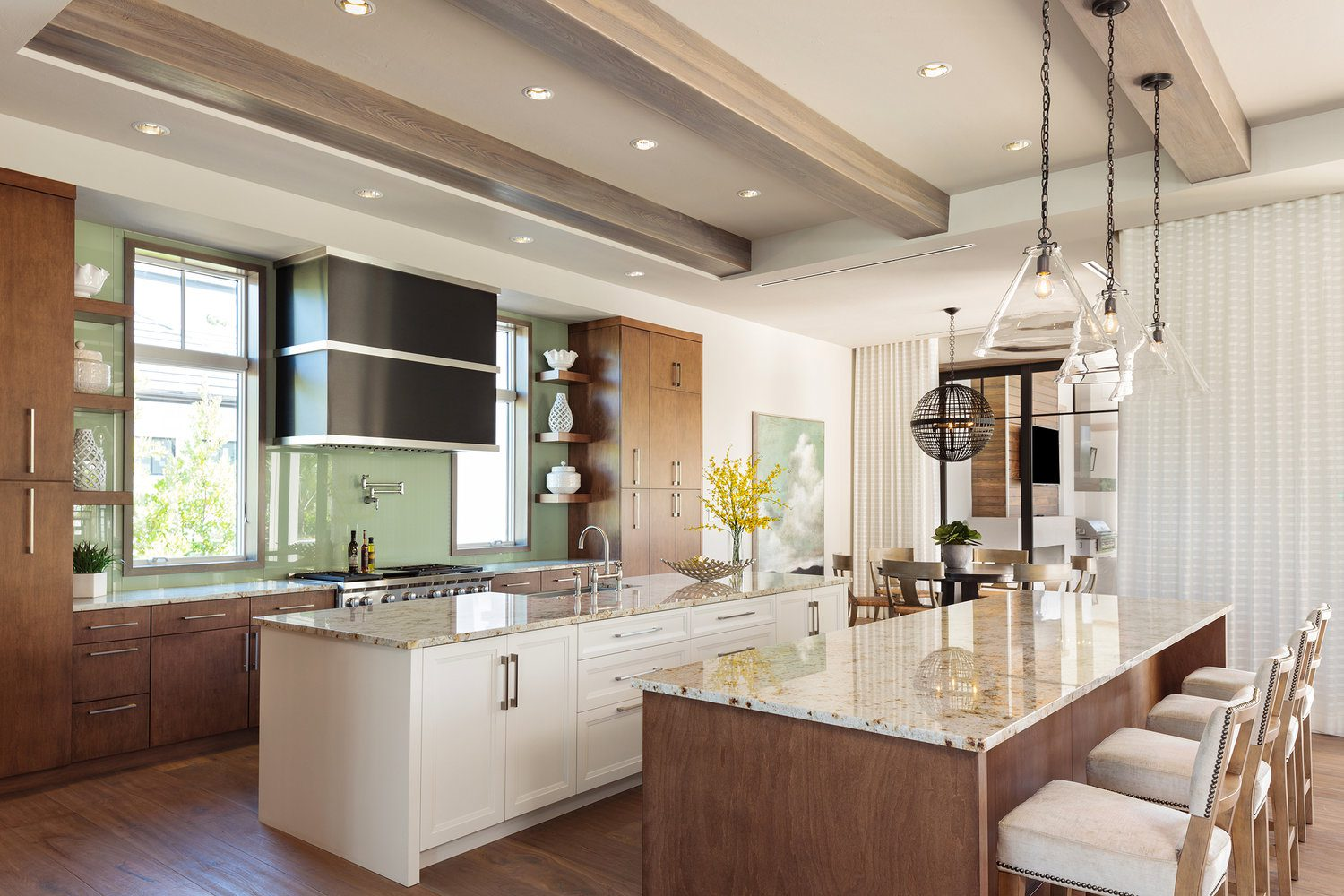 Butcher block countertops with laminate surface